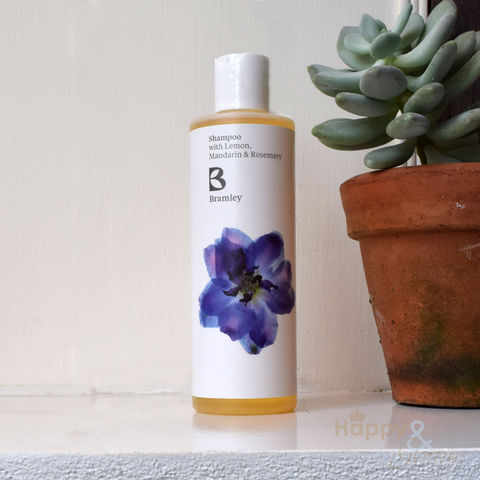 Lemon,,Mandarin,&,Rosemary,shampoo,by,Bramley,Products,Bramley products, handmade, made in Britain, essential oil, British made gift, made in UK, natural