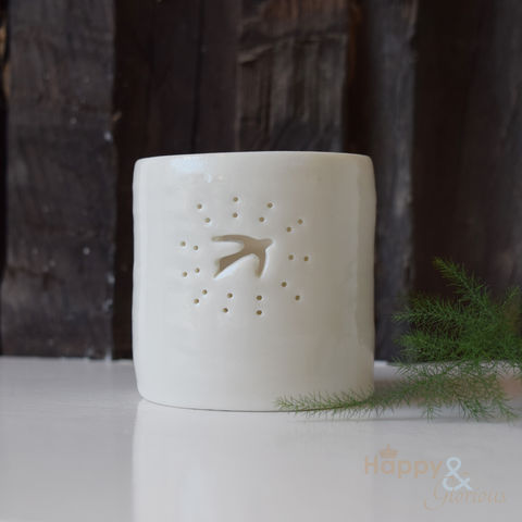 Porcelain,swallow,tealight,candle,holder,by,Luna,Lighting, swift, bird, ivory, hand crafted, handmade, wedding, gift, porcelain, tea light, votive, candle, holder, candleholder, Luna Lighting, Luna, Anna Perring, London, British, Made in UK, Made in Britain