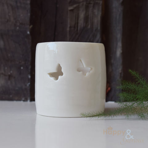 Porcelain,butterfly,tealight,candle,holder,by,Luna,Lighting, butterflies, ivory, hand crafted, handmade, wedding, gift, porcelain, tea light, votive, candle, holder, candleholder, Luna Lighting, Luna, Anna Perring, London, British, Made in UK, Made in Britain