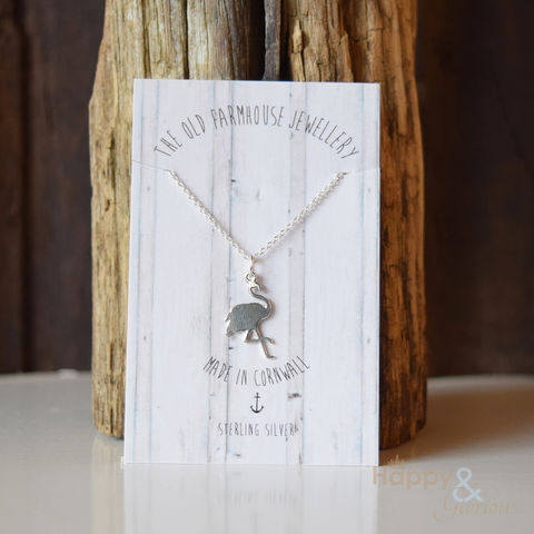 Sterling,silver,flamingo,necklace,by,The,Old,Farmhouse,Jewellery, necklace, pendant, old farmhouse jewellery, sterling silver, handmade, jewellery, Britain, British, Made in Britain, England