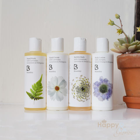 Travel,bath,&,hand,gift,set,by,Bramley,Products,Bramley products, travel size, handmade, made in Britain, body wash, lotion, hand wash, hand cream, British made gift, made in UK, natural