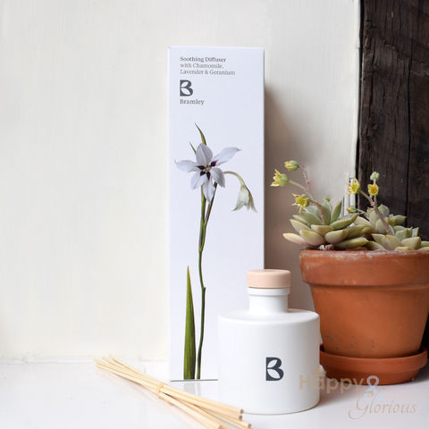 Soothing,fragrance,diffuser,with,Chamomile,,Lavender,&,Geranium,by,Bramley,Products,Bramley products, handmade, made in Britain, fragrance diffuser, room diffuser, reed diffuser, essential oil, British made gift, made in UK, natural, chamomile, lavender, geranium