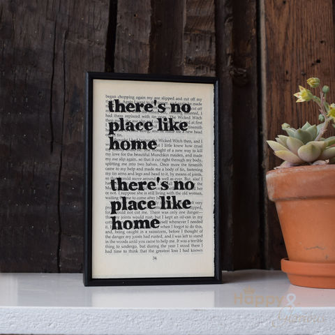'There's,no,place,like,home',hand,painted,Wizard,of,Oz,book,page,print, wall art, art, book page, bookishly, there's no place like home, wizard of oz, British, Made in Britain, England, English