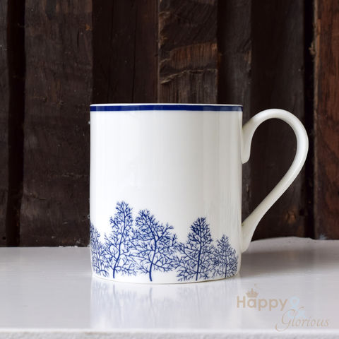 Navy,blue,&,white,fennel,leaves,silhouette,fine,china,mug,by,Kate,Tompsett,navy, indigo, fennel, leaves, silhouette, blue, white, mug, Kate Tompsett, bone china, fine bone china, cup, made in Britain, British, English, made in the UK