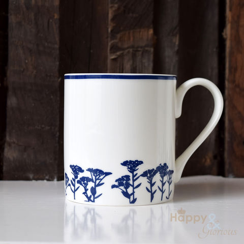Navy,blue,&,white,sedum,flower,silhouette,fine,china,mug,by,Kate,Tompsett,navy, indigo, sedum, flowers, silhouette, blue, white, mug, Kate Tompsett, bone china, fine bone china, cup, made in Britain, British, English, made in the UK