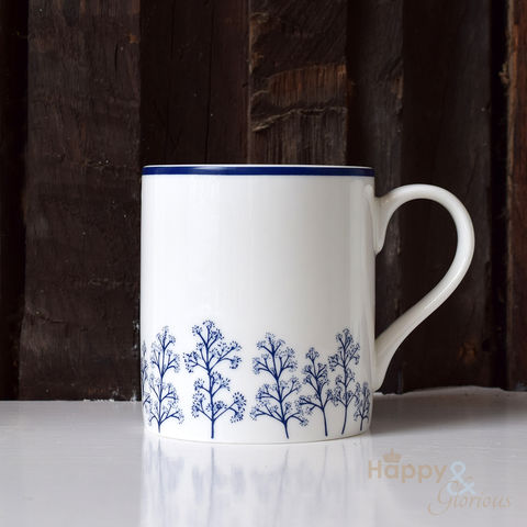 Navy,blue,&,white,skimmia,silhouette,fine,china,mug,by,Kate,Tompsett,flowers, navy, indigo, skimmia, japonica, leaves, silhouette, blue, white, mug, Kate Tompsett, bone china, fine bone china, cup, made in Britain, British, English, made in the UK