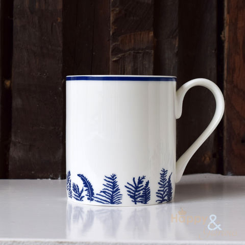 Navy,blue,&,white,fern,silhouette,fine,china,mug,by,Kate,Tompsett,navy, indigo, fern, ferns, bracken, leaves, silhouette, blue, white, mug, Kate Tompsett, bone china, fine bone china, cup, made in Britain, British, English, made in the UK