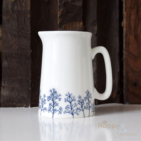 Navy,blue,&,white,skimmia,silhouette,half,pint,fine,china,jug,by,Kate,Tompsett,flowers, navy, indigo, skimmia, japonica, leaves, silhouette, blue, white, jug, Kate Tompsett, bone china, fine bone china, cup, made in Britain, British, English, made in the UK