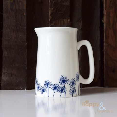 Navy,blue,&,white,dandelion,silhouette,half,pint,fine,china,jug,by,Kate,Tompsett,flowers, navy, indigo, dandelion, seedheads, silhouette, blue, white, jug, Kate Tompsett, bone china, fine bone china, cup, made in Britain, British, English, made in the UK