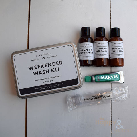 Weekender,Wash,Kit,grooming,gift,set,by,Men's,Society,Men's society, men's gifts, man gifts, handmade, made in Britain, gift set, face wash, body wash, shower gel, face cream, fathers day, essential oil, British made gift, made in UK, natural, grooming products