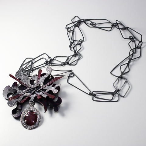 Uprising,Brooch,-,Necklace,necklace, chain, brooch, pin, ruby, silver, synaesthetic, synaesthesia, pendant, art jewellery, contemporary jewellery, neckpiece, statement jewellery, unique, one off, red, purple, oxidised