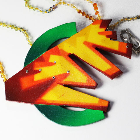 Synaesthetic,Fragments,Necklace/Brooch,Series,no.9,brooch, pin, painting, airbrush, necklace, pearls, synaesthetic, synaesthesia, magnet, custom painting, art jewelry, statement necklace, jewellery, jewels, music, rock, psychedelic, drum, snare