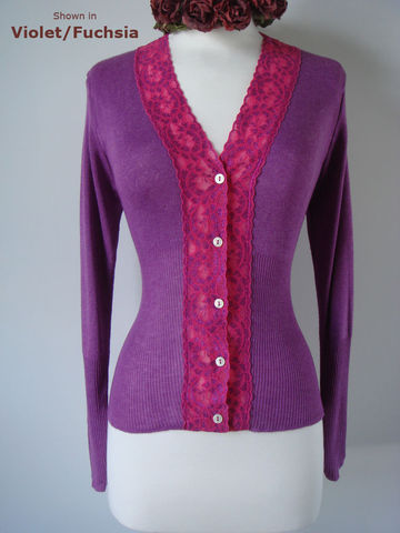Fuchsia,Wide,Lace,High,Rib,Cardigan,Lace Cardigan, Lace Trim Cardigan, Pointelle Cardigan