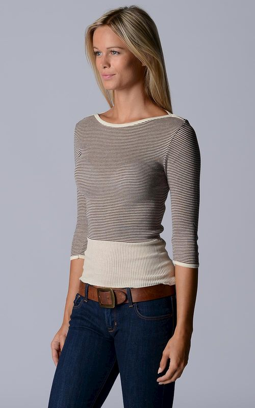 Wow 60% Off! Our Cotton Microstripe High Rib Top - product image