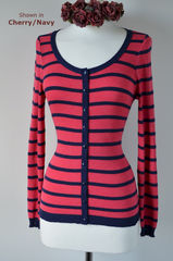 Navy Stripe Scoop Neck Cardigan - product images 1 of 1