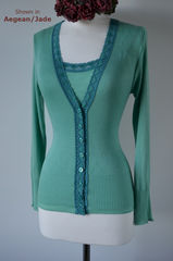 Now 30% Off!! Our Jade Heart Lace Camisole & Cardigan Set - product images 3 of 4