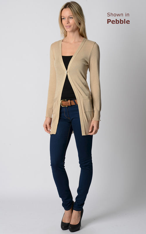 55% Off!! Gold Sparkle Knit Boyfriend Cardigan - product image