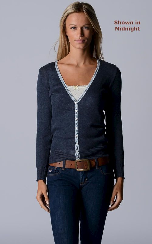 Our Narrow Lace Pointelle Cardigan - product image
