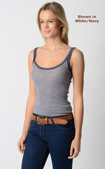 Wow 55% Off! Our Navy Microstripe & Lace Camisole - product images 2 of 8