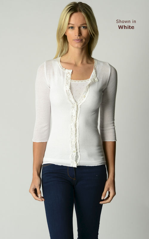 A Fabulous 40% Off!! Our Gypsy Lace Trim 3/4 Sleeve Cardigan - product image