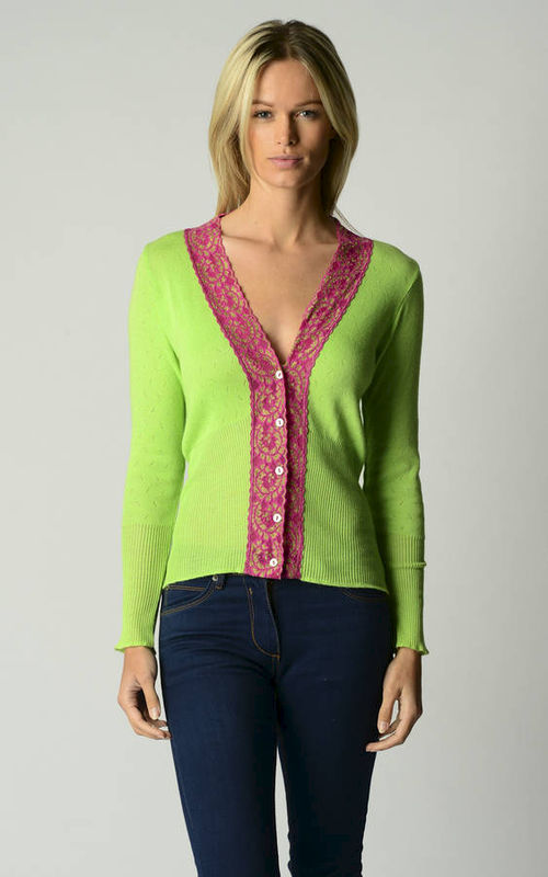 50% Off These Colours..In Our Fuchsia Lace Cardigan - product image