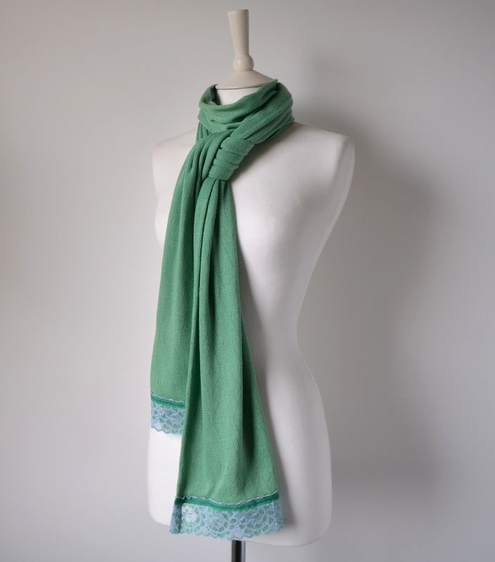 NOW 60% OFF!! -Our Exclusive Wide Lace & Ribbon Trim Scarf - product image