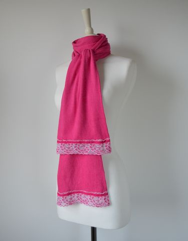 NOW,40%,Off,!!,Our,Exclusive,Wide,Lace,&,Ribbon,Trim,Scarf,palace london, palace, scarf, knitted scarf, long scarf, lace trim scarf