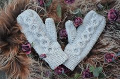 Now 50% Off - Hand Knitted Aran Mittens in Chocolate - product images  of
