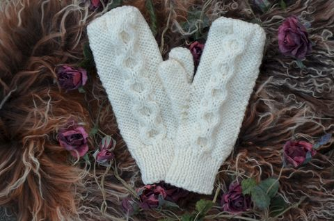 Now,50%,Off,-,Hand,Knitted,Aran,Mittens,in,Cream,palace london, palace, mittens, knitted mittens, handknit mittens, aran mittens, hand knit mittens