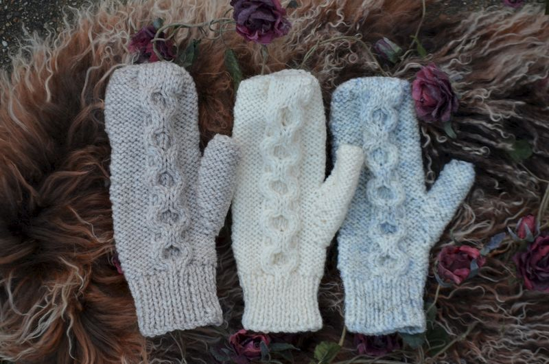 Now 50% Off - Hand Knitted Aran Mittens in Cream - product image