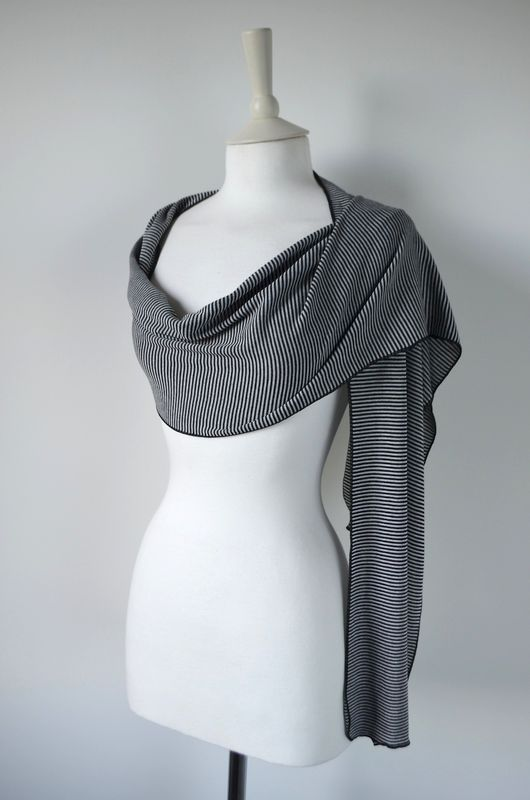 Wow Over 60% Off! Our Black Micro Stripe Knit Super Soft Scarf in White - product image