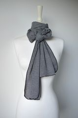 Wow Over 60% Off! Our Black Micro Stripe Knit Super Soft Scarf in White - product images 1 of 5