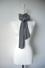 Wow Over 60% Off! Our Black Micro Stripe Knit Super Soft Scarf in White - product images 5 of 5