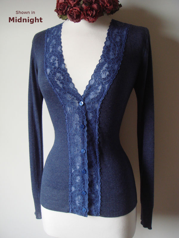 Now 30% Off! Electric Blue Wide Lace Camisole & Cardigan Set - product image