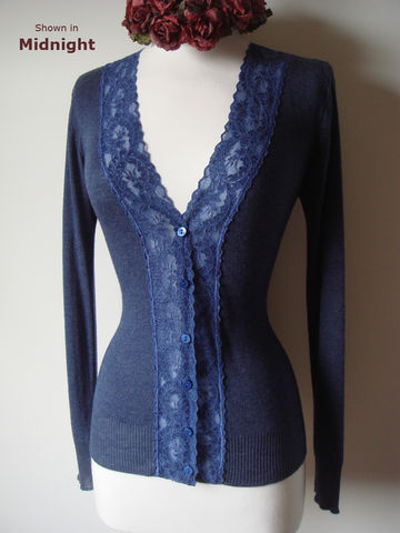 Now,30%,Off!,Electric,Blue,Wide,Lace,Camisole,&,Cardigan,Set,Lace Twin Set, Lace Twinset, Lace Camisole, Lace Cardigan, Electric Blue Wide Lace, Pointelle, Camisole & Cardigan