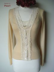 Now 30% Off!! Cream Velvet Lace Camisole & Cardigan Set - product images 8 of 11