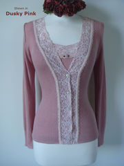 Now 30% Off!! Cream Velvet Lace Camisole & Cardigan Set - product images 6 of 11