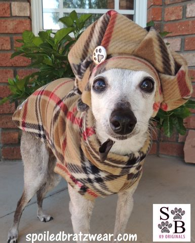 Brrrrrrberry,London,Plaid,Vest,and,Tam,Hat,for,Dogs-custom,made,italian greyhound clothes, polartec dog clothes, warm dog coat, dog sweater, dachshund clothes, frenchie dog clothes