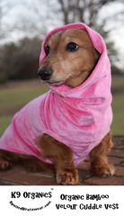 Organic,Bamboo,Velour,Cuddle,Vest,for,Dogs,bamboo dog clothes, dachshund clothes, dachshund sweater, sleeveless vest, organic dog clothes