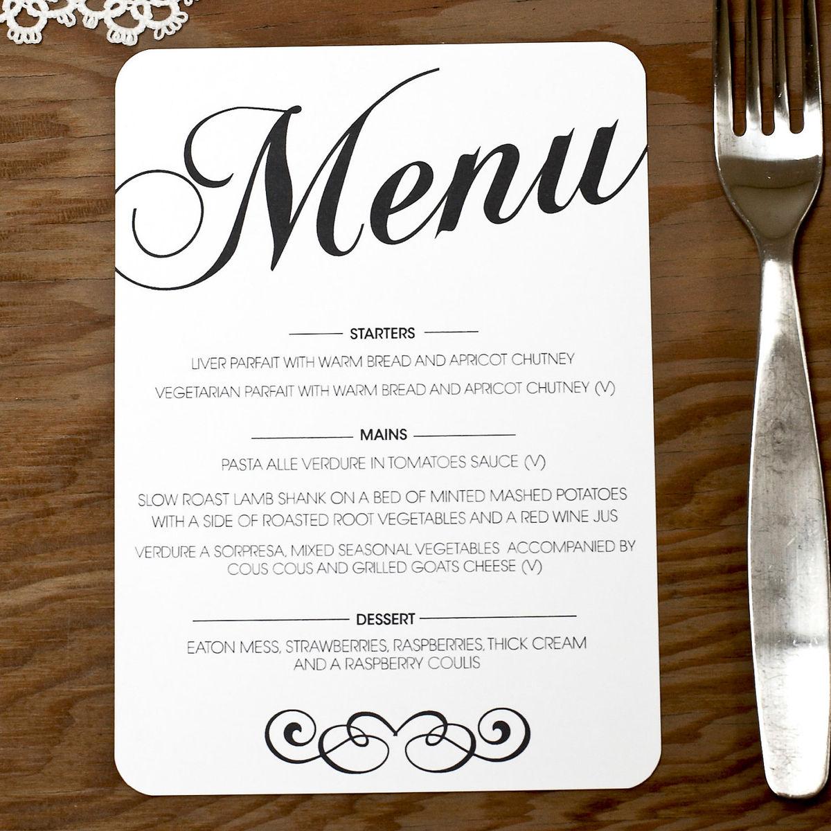 Menu Card for Wedding — Crafthubs