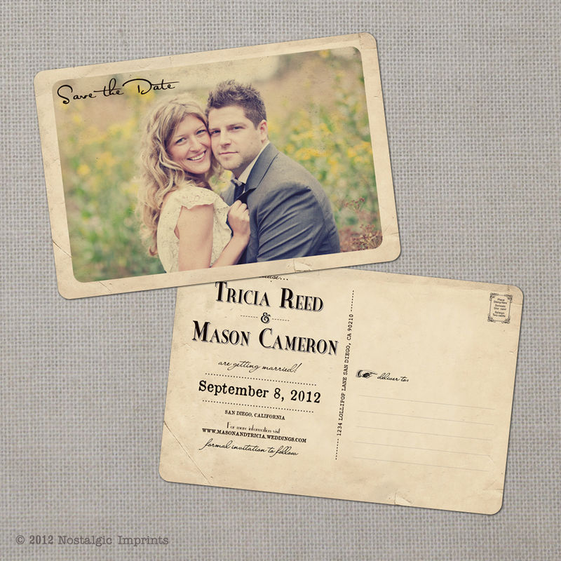 Tricia - 4x6 Vintage Photo Save the Date Postcard - product images  of 