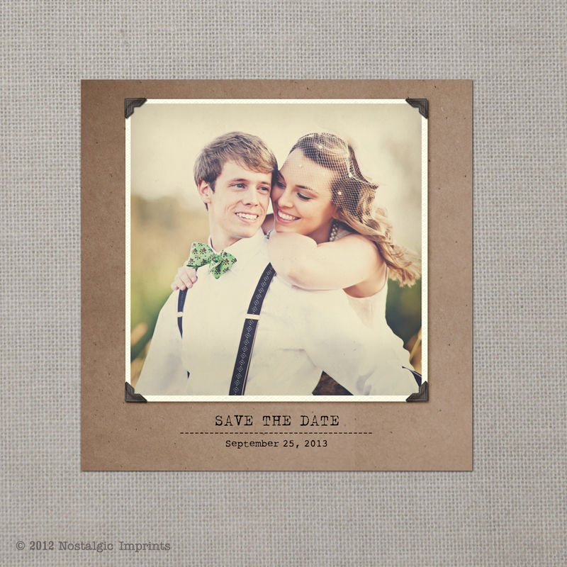 Yasmine 2 - 5x5 Vintage Photo Save the Date Card - product images  of 