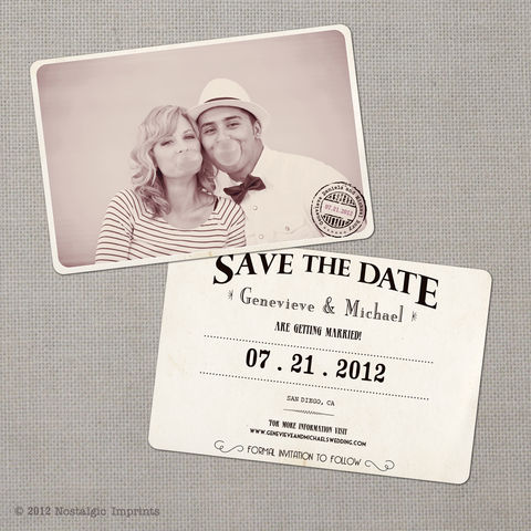 Genevieve,-,4x6,Vintage,Photo,Save,the,Date,Card,vintage save the date, Weddings, Card, save the date, custom photo card, photo save the date card, photo card, vintage card, 4x6, postcard, post card, retro