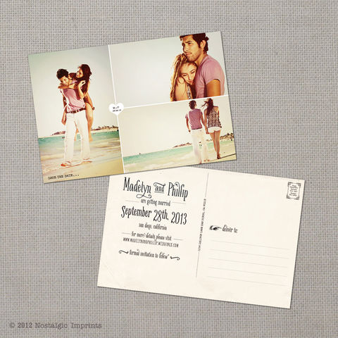Madelyn,1,-,4x6,Vintage,Photo,Save,the,Date,Postcard,vintage save the date, Weddings, Card, save the date, custom photo card, photo save the date card, photo card, vintage card, 4x6, postcard, post card, retro