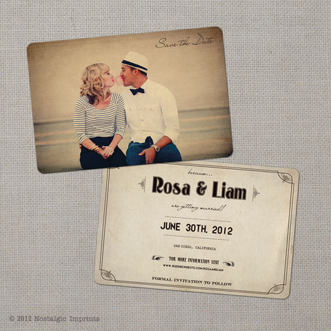 Rosa,-,4x6,Vintage,Photo,Save,the,Date,Card,vintage save the date, Weddings, Card, save the date, custom photo card, photo save the date card, photo card, vintage card, 4x6, postcard, post card, retro