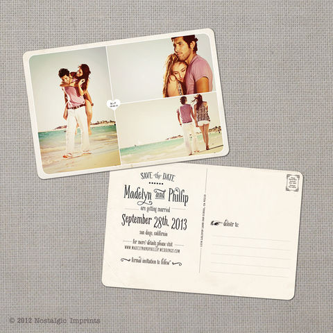 Madelyn,4,-,4x6,Vintage,Photo,Save,the,Date,Postcard,vintage save the date, Weddings, Card, save the date, custom photo card, photo save the date card, photo card, vintage card, 4x6, postcard, post card, retro