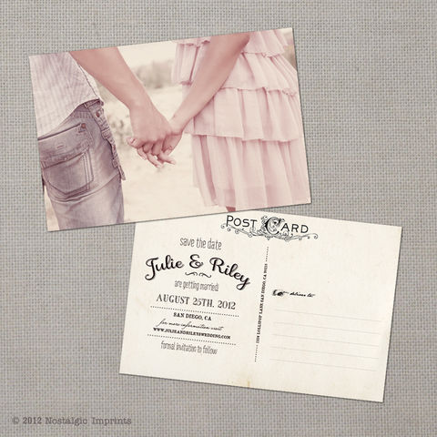 Julie,-,4x6,Vintage,Photo,Save,the,Date,Postcard,vintage save the date, Weddings, Card, save the date, custom photo card, photo save the date card, photo card, vintage card, 4x6, postcard, post card, retro