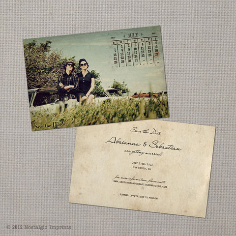 Abrianna,-,4x6,Vintage,Photo,Save,the,Date,Card,vintage save the date, Weddings, Card, save the date, custom photo card, photo save the date card, photo card, vintage card, 4x6, postcard, post card, retro