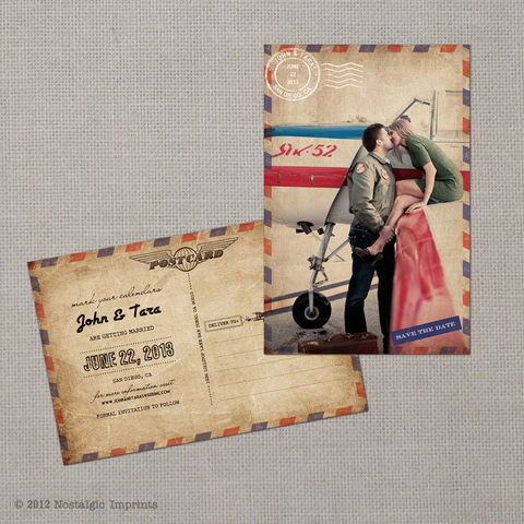 Tara,-,Vintage,Airmail,Save,the,Date,Postcard,vintage save the date, Weddings, Card, save the date, custom photo card, photo save the date card, photo card, vintage card, 4x6, postcard, post card, retro