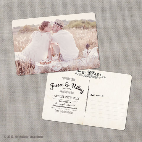 Jessa,1,-,4x6,Vintage,Photo,Save,the,Date,Postcard,vintage save the date, Weddings, Card, save the date, custom photo card, photo save the date card, photo card, vintage card, 4x6, postcard, post card, retro